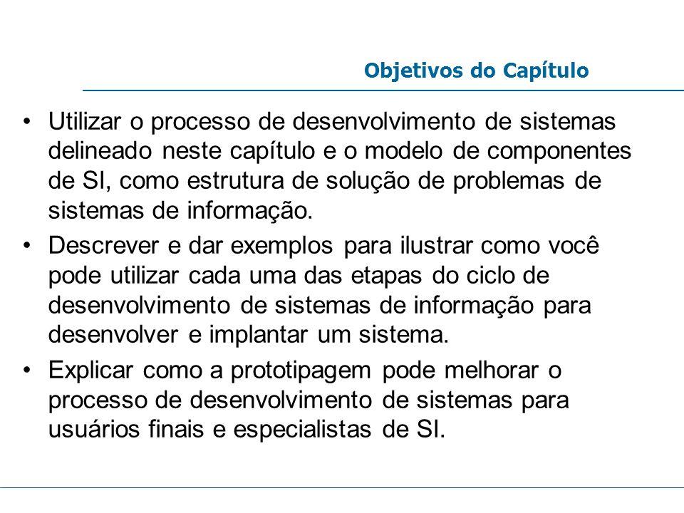 Utilizar o processo de desenvolvimento de sistemas delineado neste capítulo e o modelo de componentes de SI, como estrutura de solução de problemas de