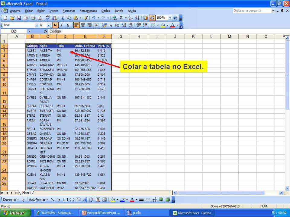 109 Colar a tabela no Excel.