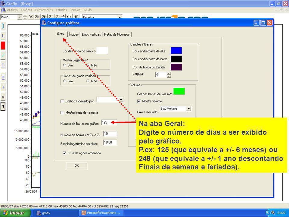 12 Na aba Geral: Digite o número de dias a ser exibido pelo gráfico.