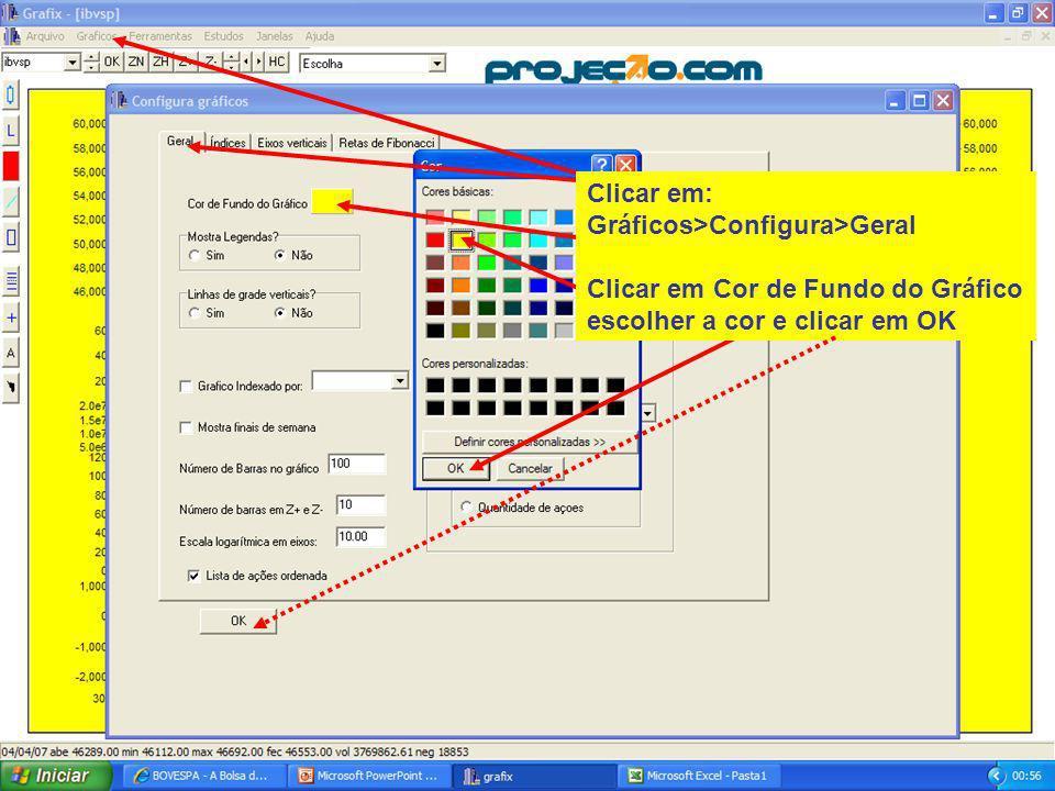 120 Clicar em: Gráficos>Configura>Geral Clicar em Cor de Fundo do Gráfico escolher a cor e clicar em OK