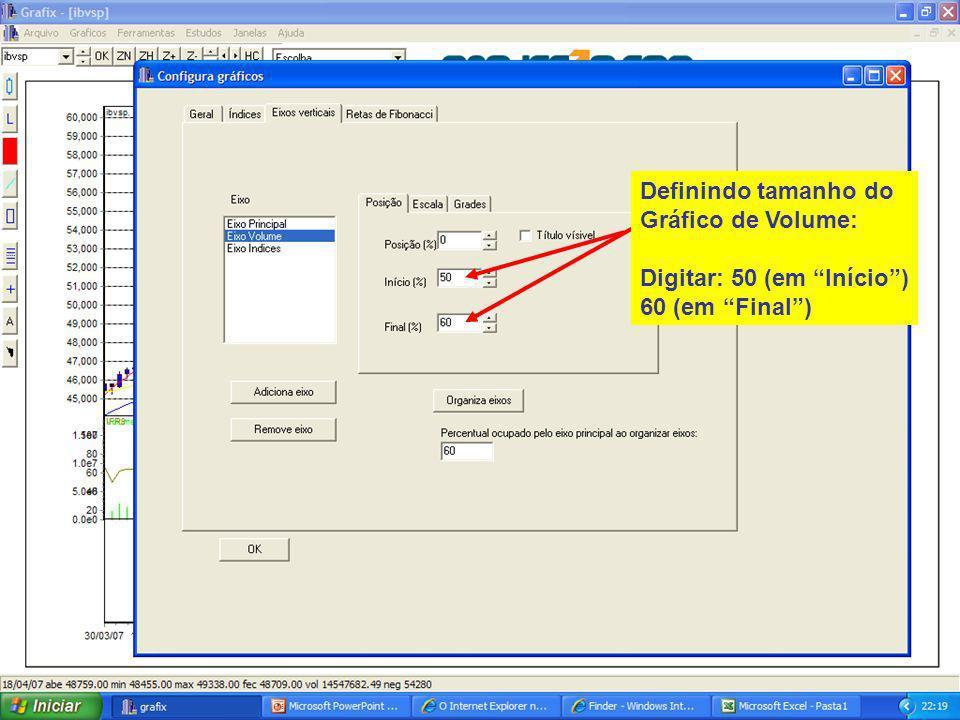 25 Definindo tamanho do Gráfico de Volume: Digitar: 50 (em Início) 60 (em Final)