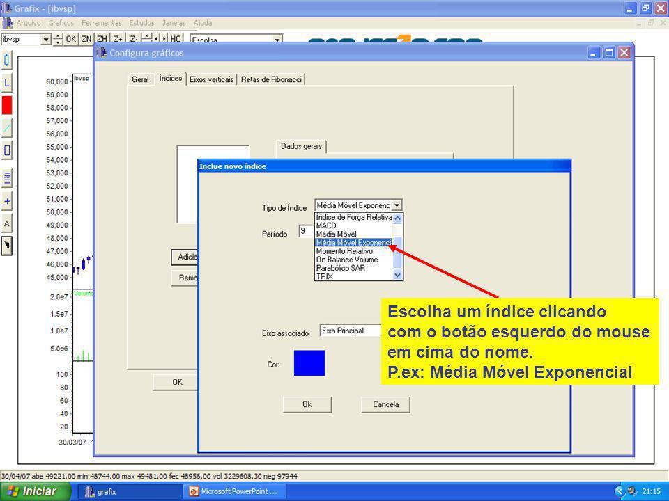 35 Escolha um índice clicando com o botão esquerdo do mouse em cima do nome.