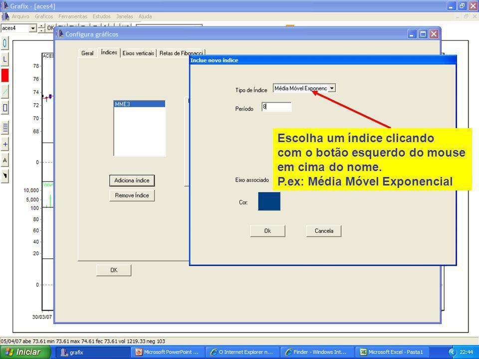 42 Escolha um índice clicando com o botão esquerdo do mouse em cima do nome.
