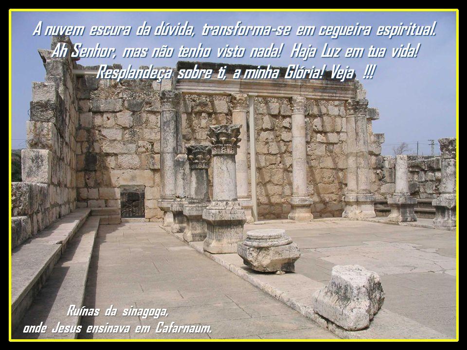 Ruínas da sinagoga, onde Jesus ensinava em Cafarnaum.