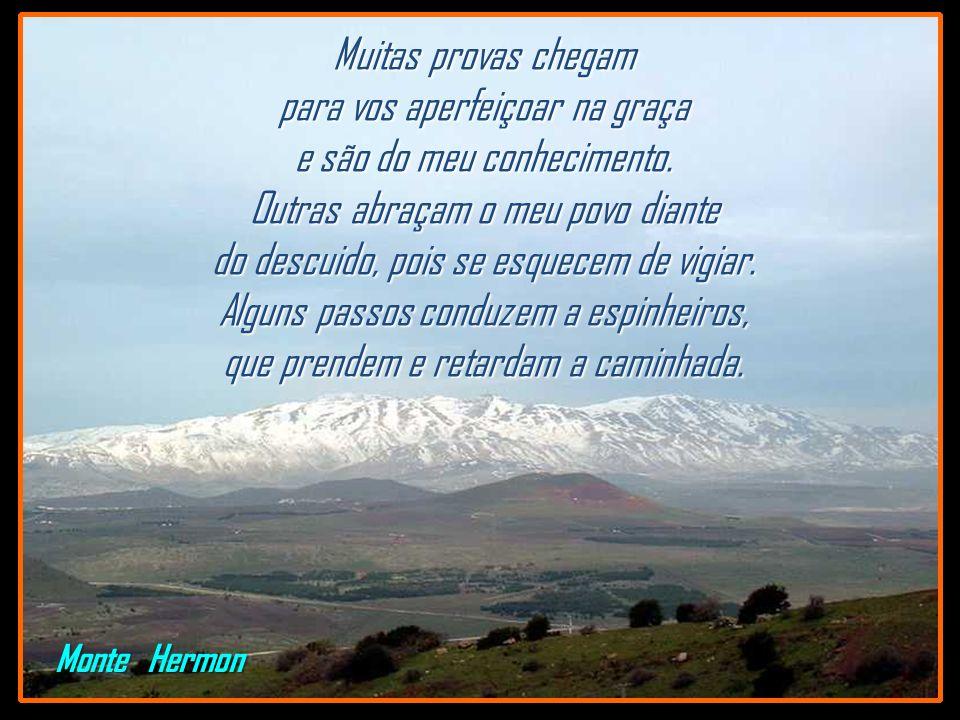 Monte Hermon Muitas provas chegam para vos aperfeiçoar na graça e são do meu conhecimento.