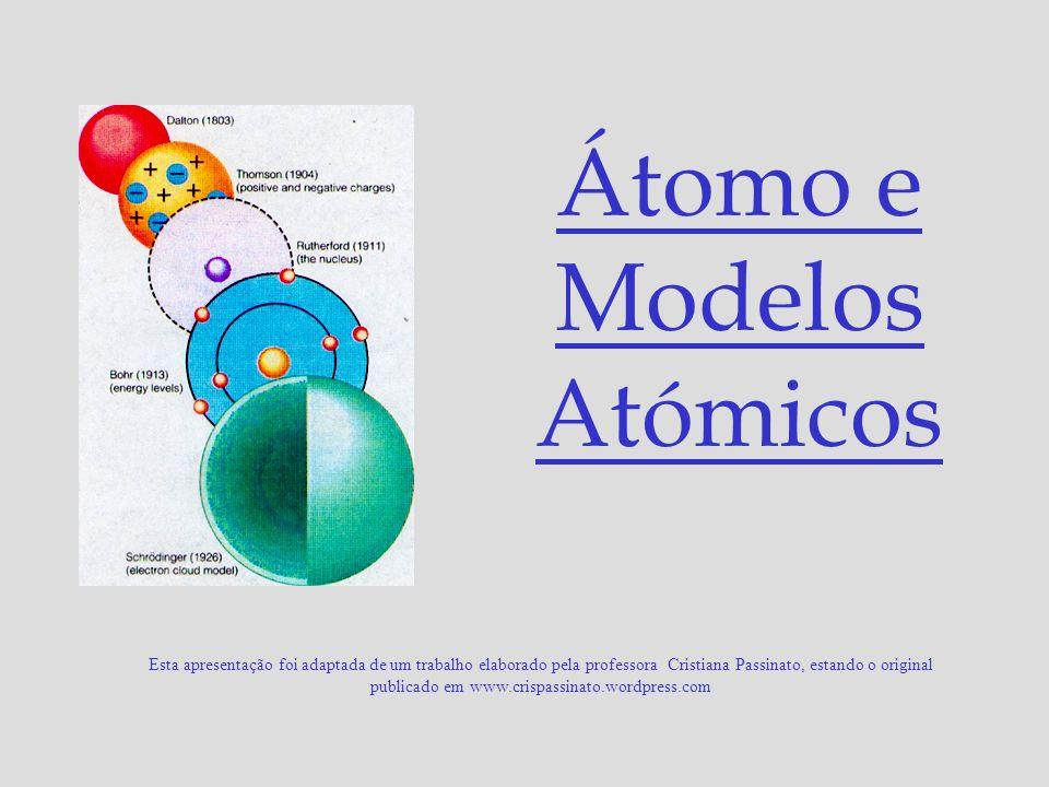 Modelo proposto por Rutherford (1911): O átomo é uma estrutura praticamente vazia, e não uma esfera maciça; É constituído por: Núcleo muito pequeno com a carga positiva, onde se concentra quase toda a massa do átomo.