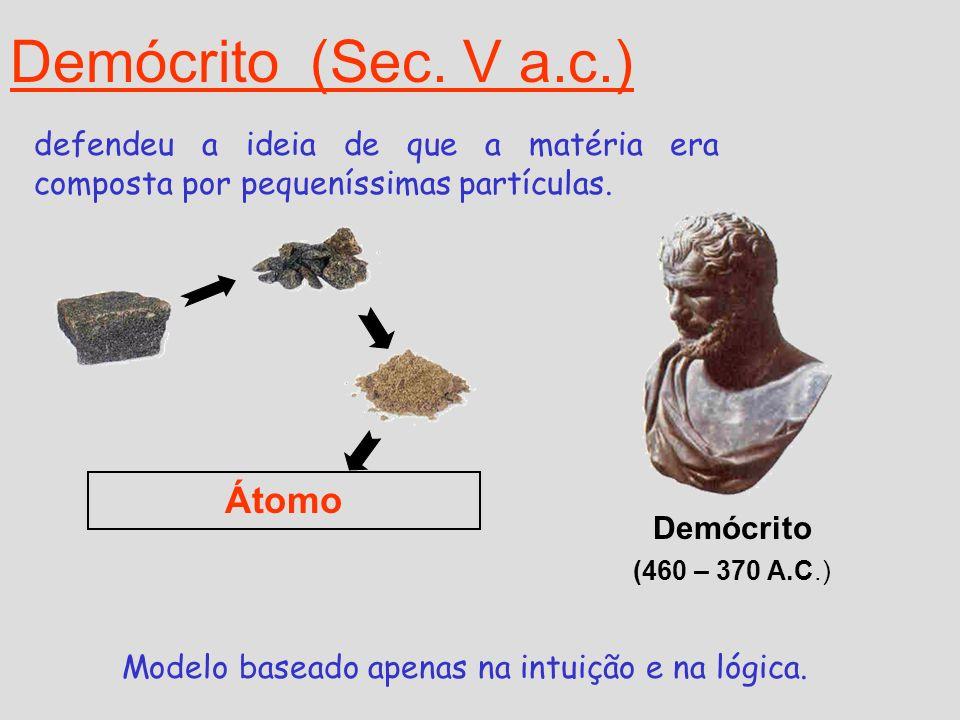 Modelo proposto por Demócrito: Toda a matéria é constituída por átomos e vazio; O átomo é uma partícula pequeníssima, invisível,e que não pode ser dividida; Os átomos encontram-se em constante movimento; Universo constituído por um número infinito de átomos, indivisíveis e eternos;
