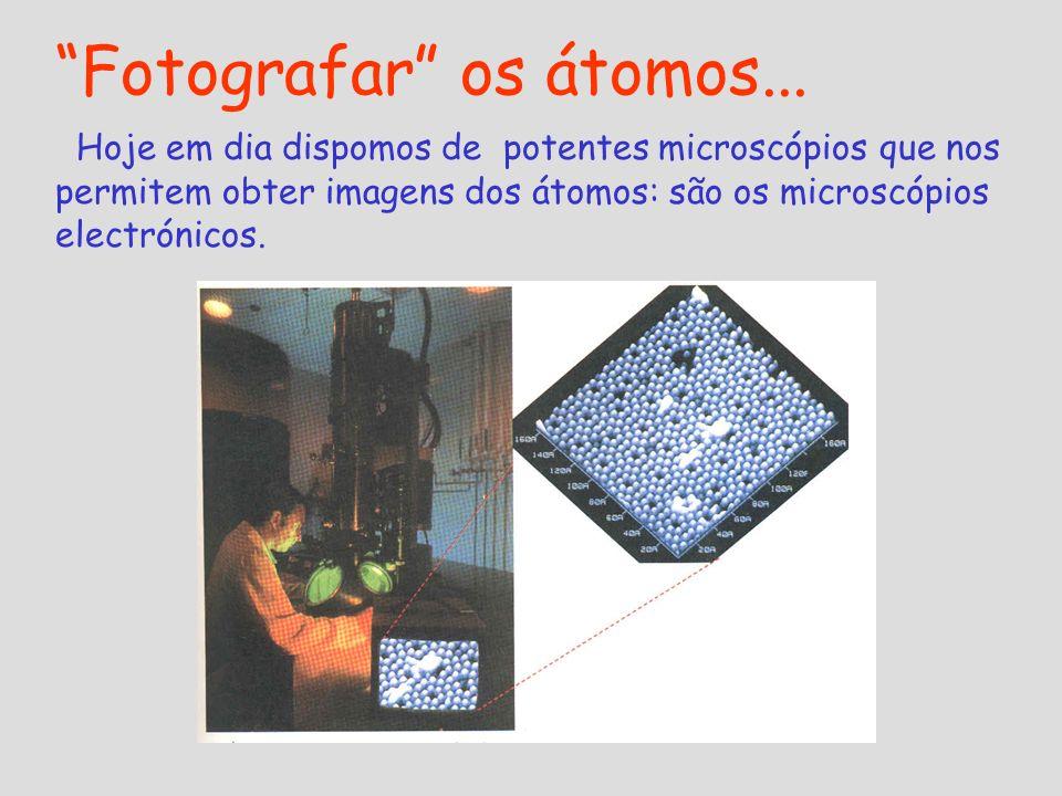 Fotografar os átomos... Hoje em dia dispomos de potentes microscópios que nos permitem obter imagens dos átomos: são os microscópios electrónicos.