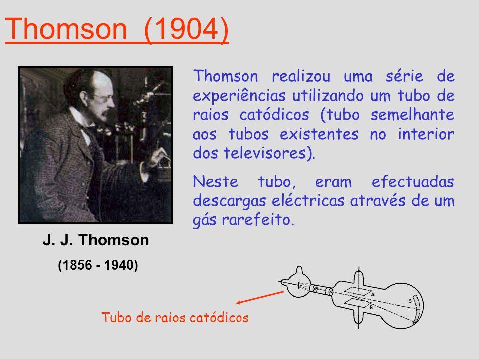 Em 1897 Thomson propõe um novo modelo: Ao estudar as descargas no interior deste aparelho, Thomson, descobriu o electrão.