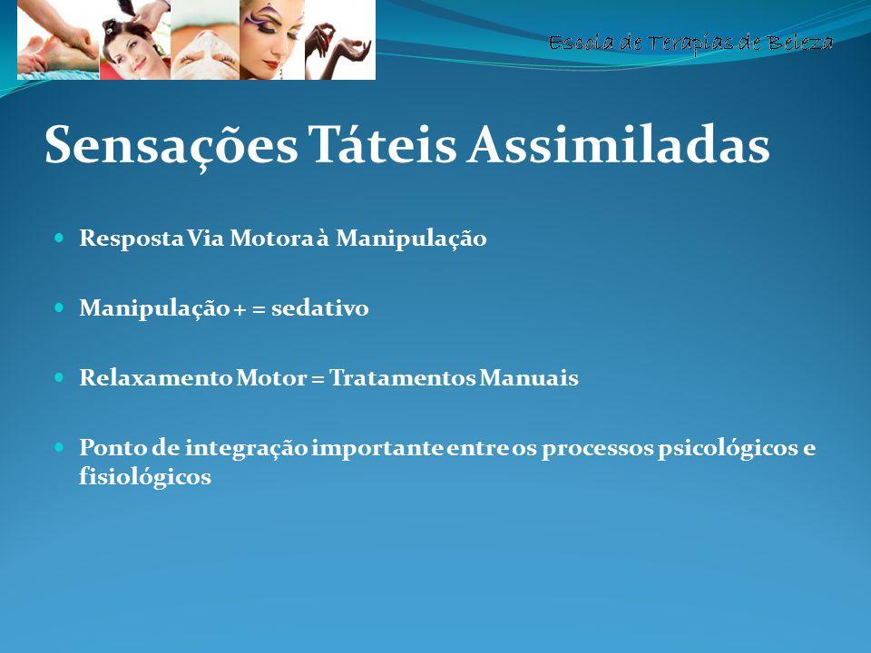 Escola de Terapias de Beleza Sensações Táteis Assimiladas Resposta Via Motora à Manipulação Manipulação + = sedativo Relaxamento Motor = Tratamentos M