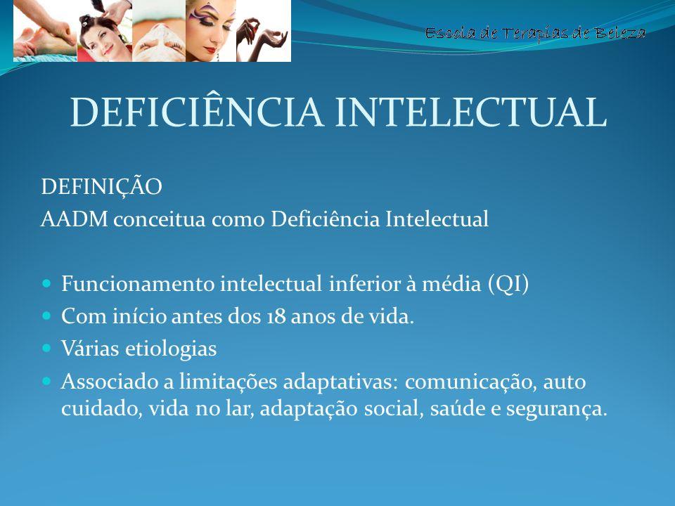 Escola de Terapias de Beleza DEFICIÊNCIA INTELECTUAL DEFINIÇÃO AADM conceitua como Deficiência Intelectual Funcionamento intelectual inferior à média