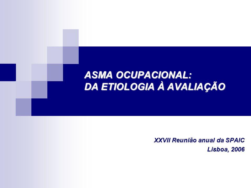 ASMA OCUPACIONAL: DA ETIOLOGIA À AVALIAÇÃO Diagnóstico de Asma Ocupacional Diagnóstico de Asma Ocupacional Questionários: Tem agravamento dos seus sintomas no local de trabalho.