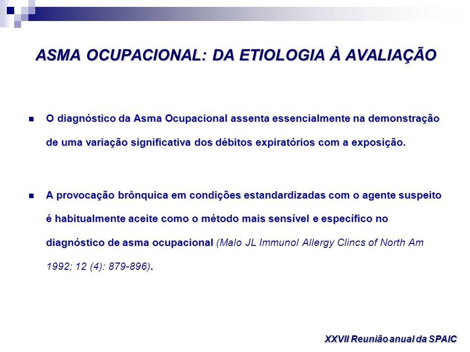 ASMA OCUPACIONAL: DA ETIOLOGIA À AVALIAÇÃO O diagnóstico da Asma Ocupacional assenta essencialmente na demonstração de uma variação significativa dos