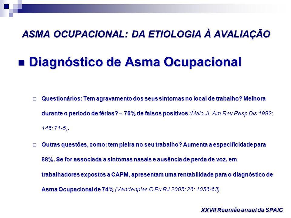 ASMA OCUPACIONAL: DA ETIOLOGIA À AVALIAÇÃO Diagnóstico de Asma Ocupacional Diagnóstico de Asma Ocupacional Questionários: Tem agravamento dos seus sin