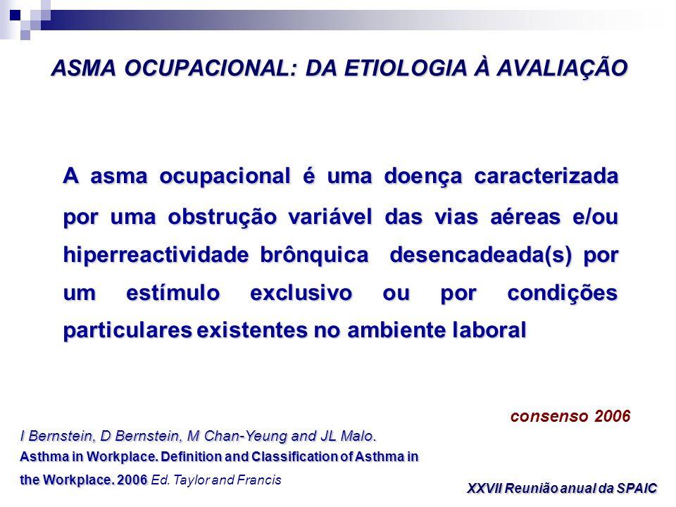 ASMA OCUPACIONAL: DA ETIOLOGIA À AVALIAÇÃO XXVII Reunião anual da SPAIC ASMA OCUPACIONAL Asma agravada no local de trabalho Asma alérgica (com período de latência) Asma não alérgica (sem período de latência)