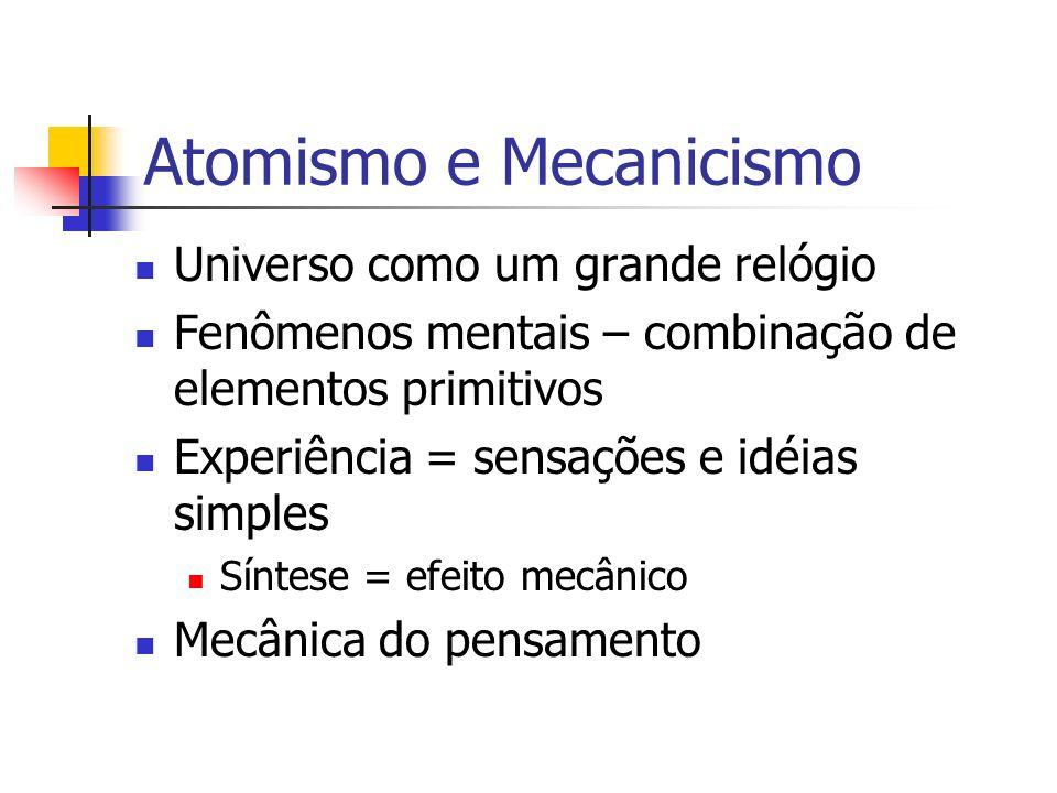Universo como um grande relógio Fenômenos mentais – combinação de elementos primitivos Experiência = sensações e idéias simples Síntese = efeito mecân