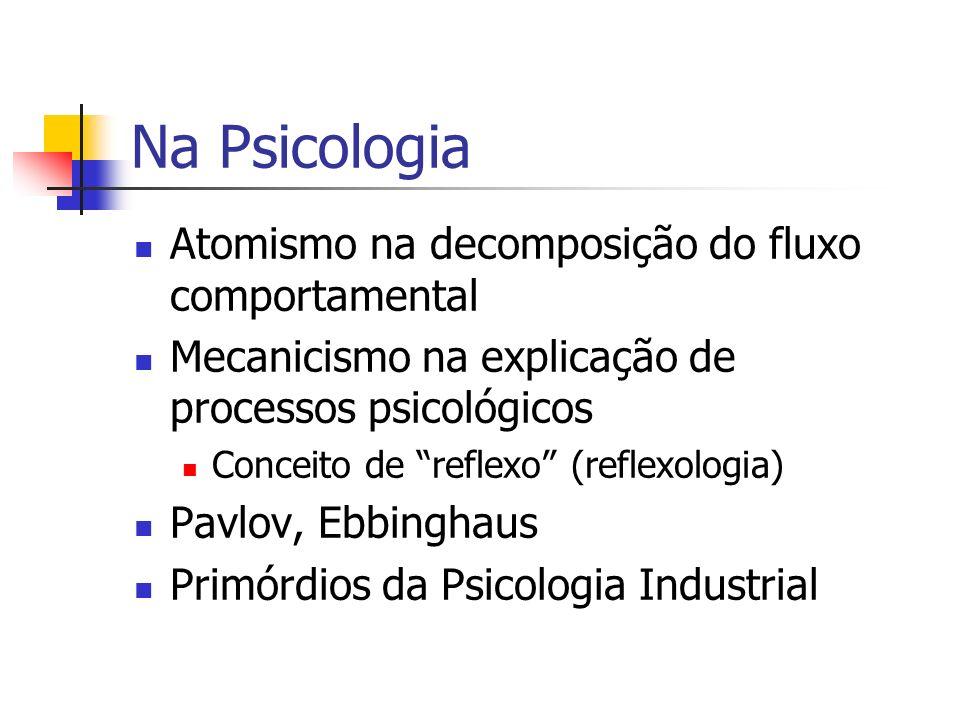 Na Psicologia Atomismo na decomposição do fluxo comportamental Mecanicismo na explicação de processos psicológicos Conceito de reflexo (reflexologia)