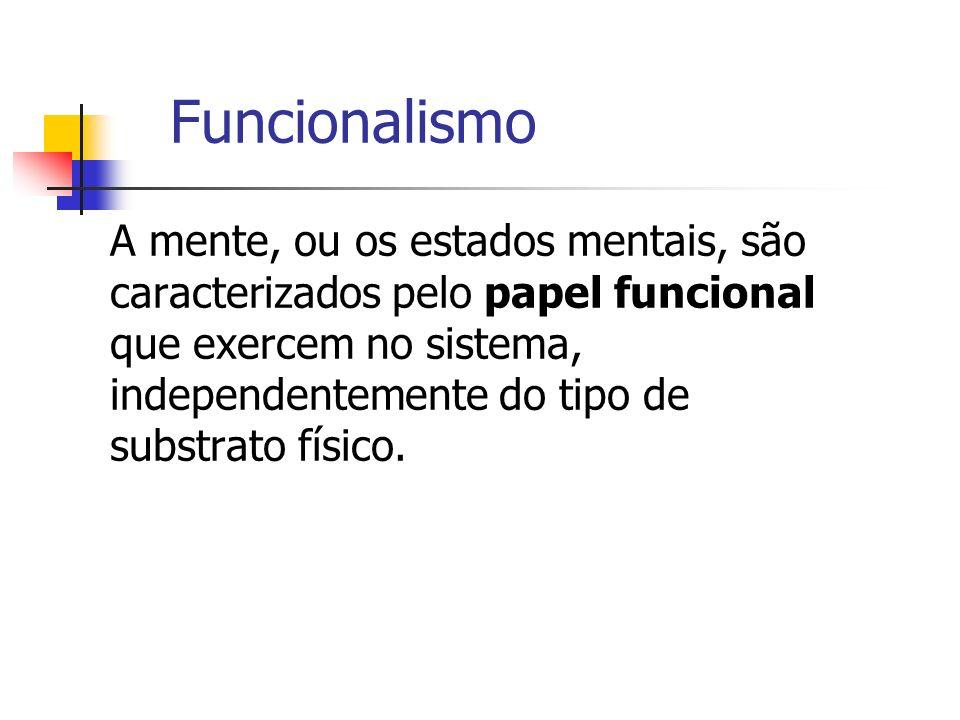 Funcionalismo A mente, ou os estados mentais, são caracterizados pelo papel funcional que exercem no sistema, independentemente do tipo de substrato f