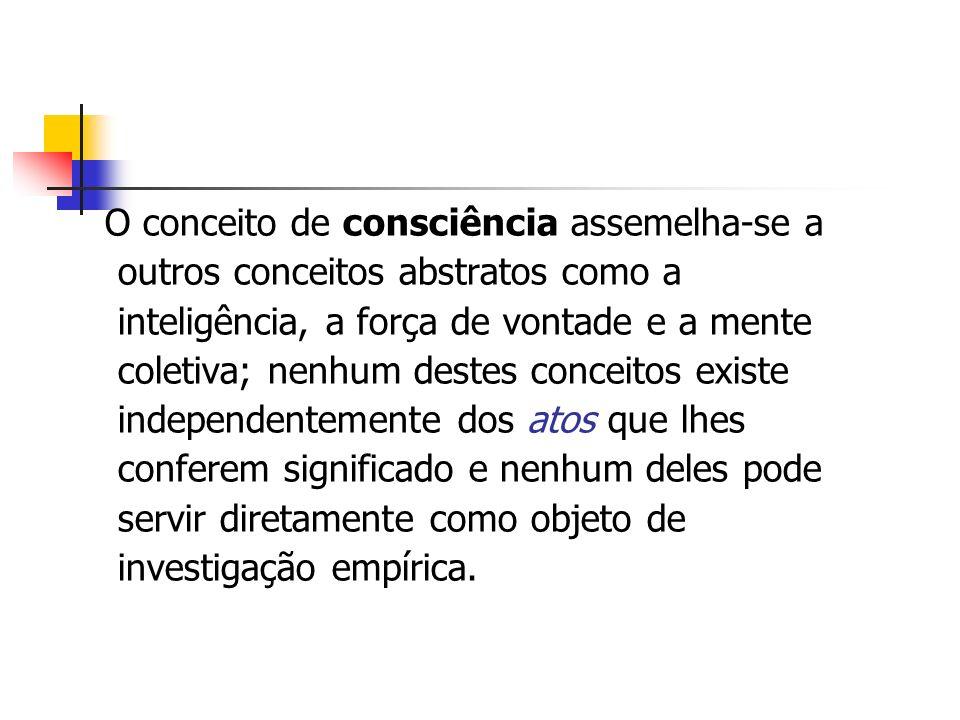 O conceito de consciência assemelha-se a outros conceitos abstratos como a inteligência, a força de vontade e a mente coletiva; nenhum destes conceito