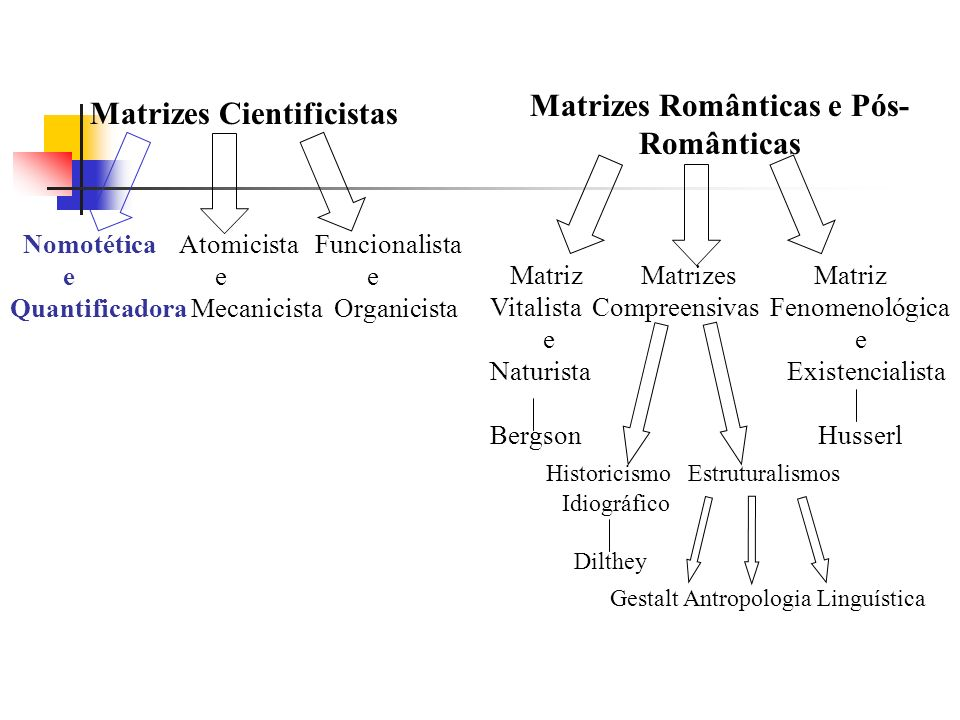 Matrizes Cientificistas Nomotética Atomicista Funcionalista e e e Quantificadora Mecanicista Organicista Matrizes Românticas e Pós- Românticas Matriz