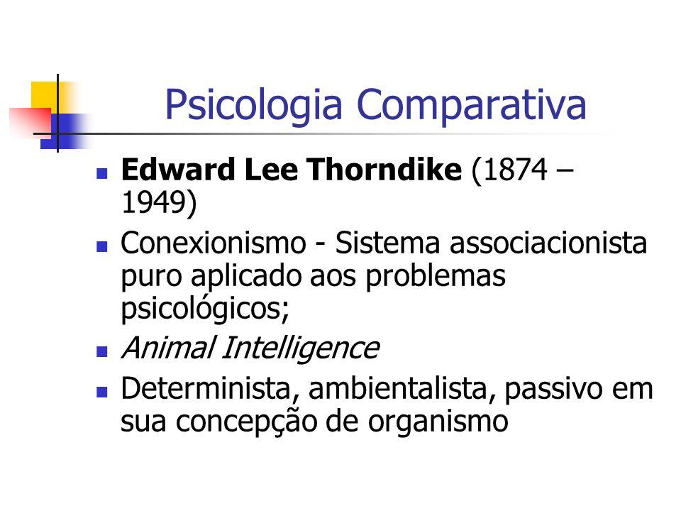 Psicologia Comparativa Edward Lee Thorndike (1874 – 1949) Conexionismo - Sistema associacionista puro aplicado aos problemas psicológicos; Animal Inte