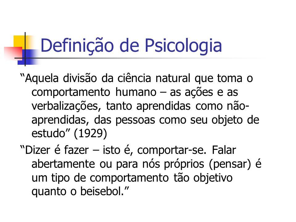Definição de Psicologia Aquela divisão da ciência natural que toma o comportamento humano – as ações e as verbalizações, tanto aprendidas como não- ap