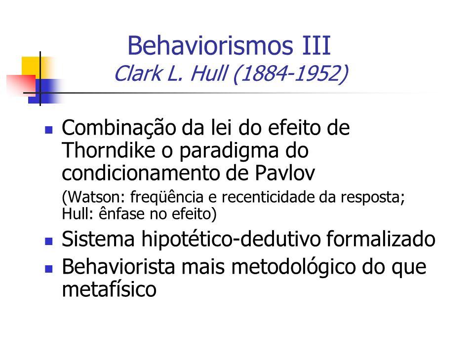 Behaviorismos III Clark L. Hull (1884-1952) Combinação da lei do efeito de Thorndike o paradigma do condicionamento de Pavlov (Watson: freqüência e re