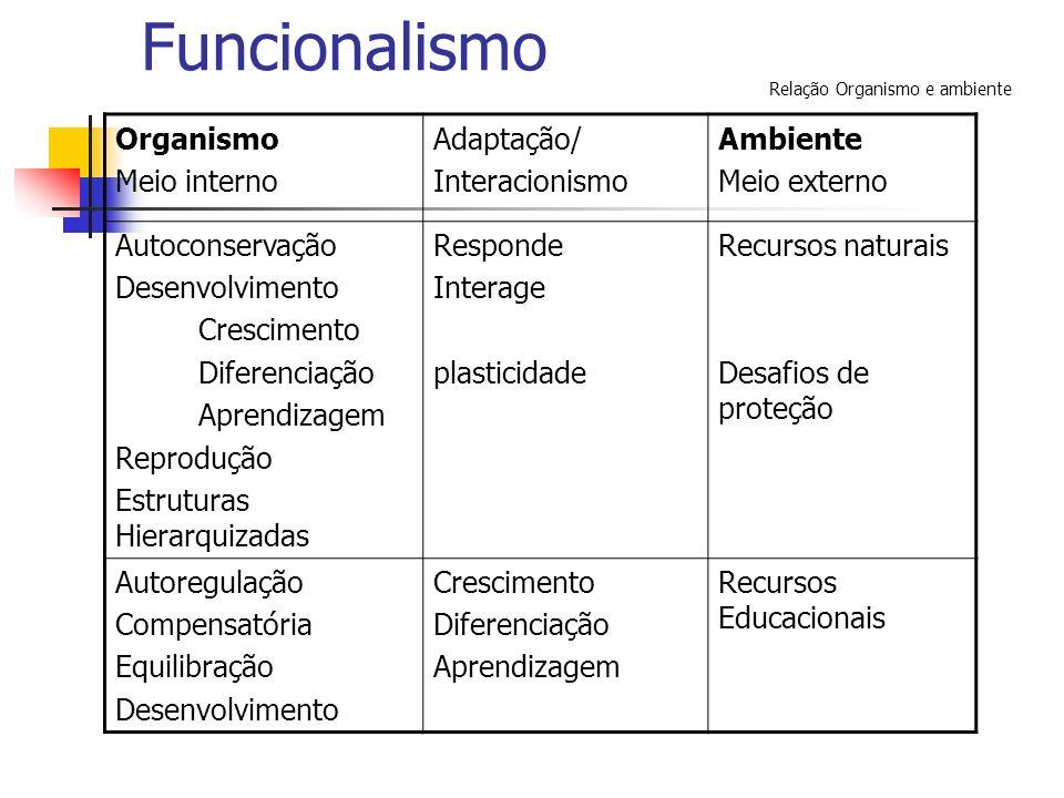 Funcionalismo Organismo Meio interno Adaptação/ Interacionismo Ambiente Meio externo Autoconservação Desenvolvimento Crescimento Diferenciação Aprendi