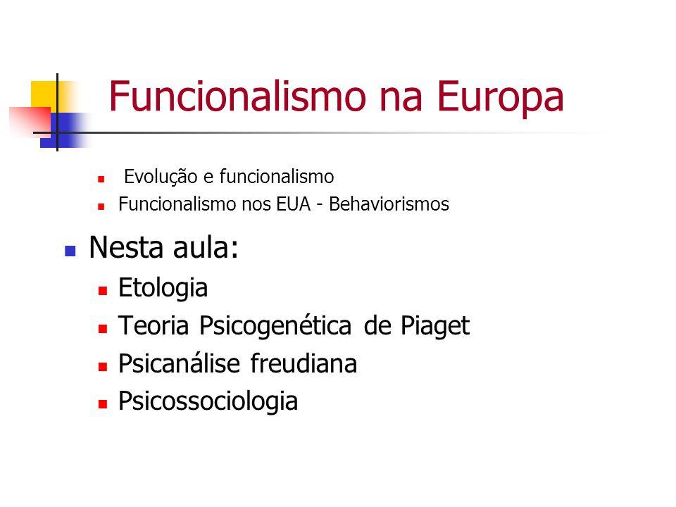 Funcionalismo na Europa Evolução e funcionalismo Funcionalismo nos EUA - Behaviorismos Nesta aula: Etologia Teoria Psicogenética de Piaget Psicanálise