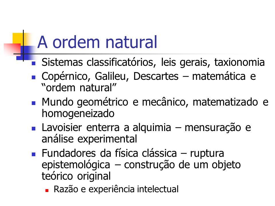 A ordem natural Sistemas classificatórios, leis gerais, taxionomia Copérnico, Galileu, Descartes – matemática e ordem natural Mundo geométrico e mecân