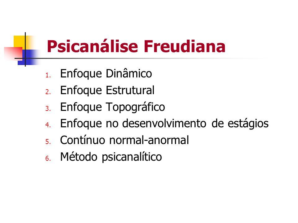 Psicanálise Freudiana 1. Enfoque Dinâmico 2. Enfoque Estrutural 3. Enfoque Topográfico 4. Enfoque no desenvolvimento de estágios 5. Contínuo normal-an