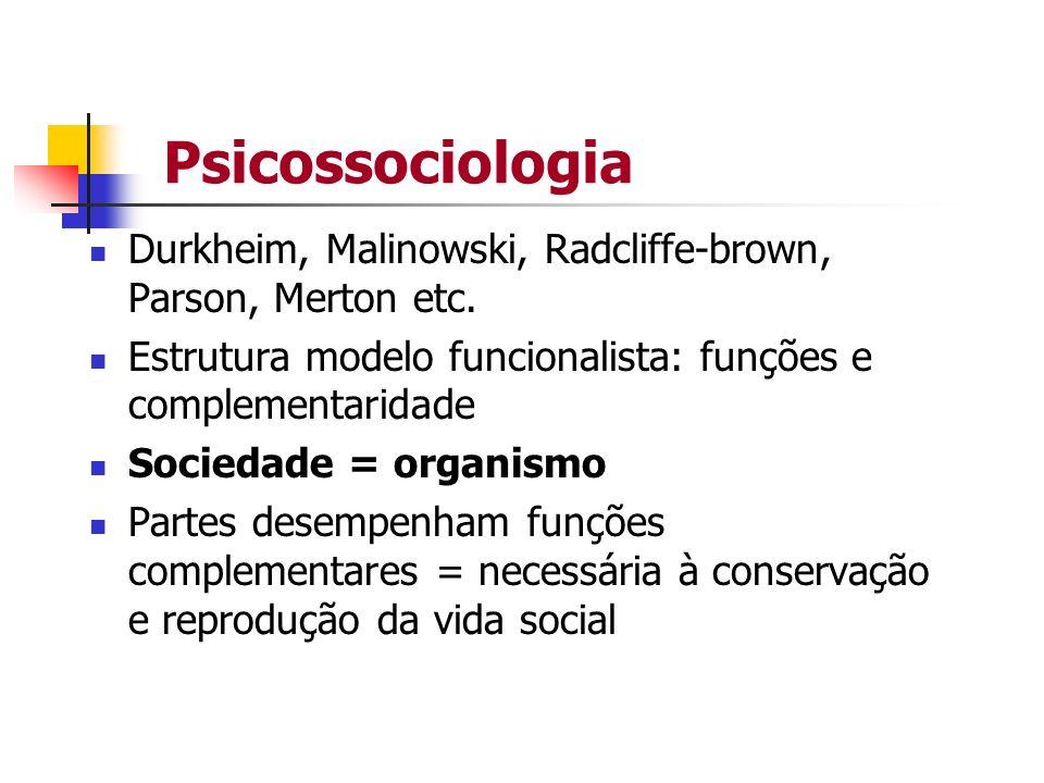 Psicossociologia Durkheim, Malinowski, Radcliffe-brown, Parson, Merton etc. Estrutura modelo funcionalista: funções e complementaridade Sociedade = or