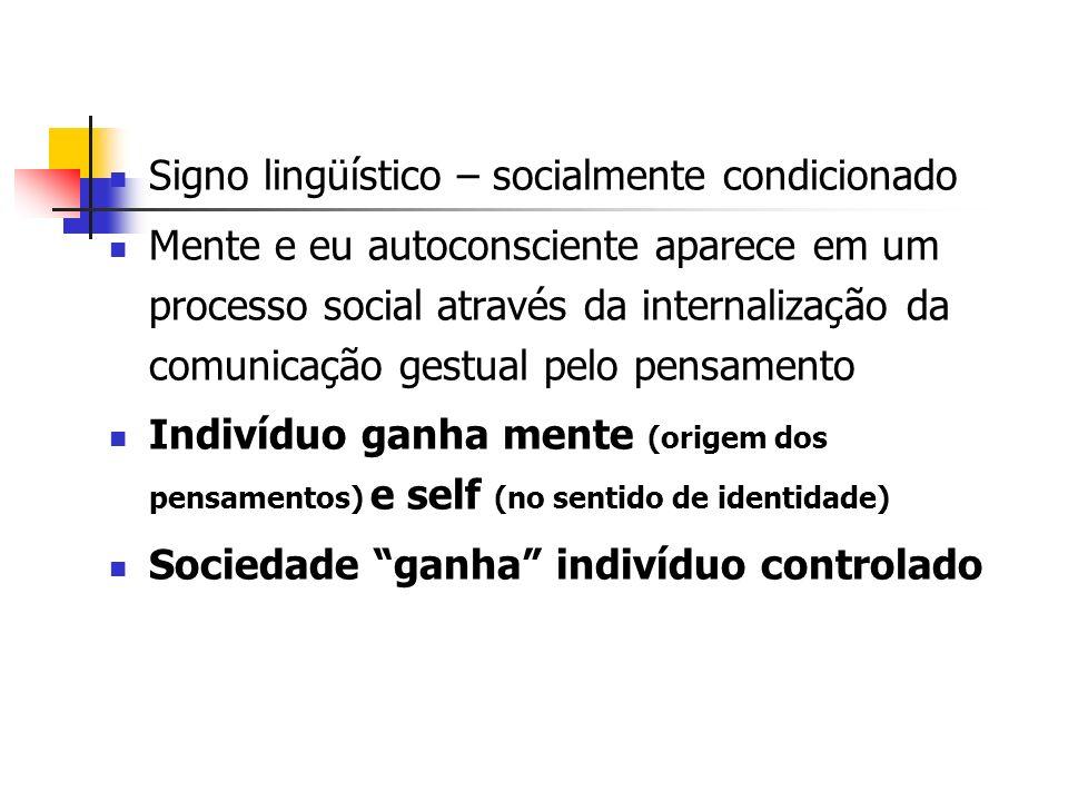 Signo lingüístico – socialmente condicionado Mente e eu autoconsciente aparece em um processo social através da internalização da comunicação gestual
