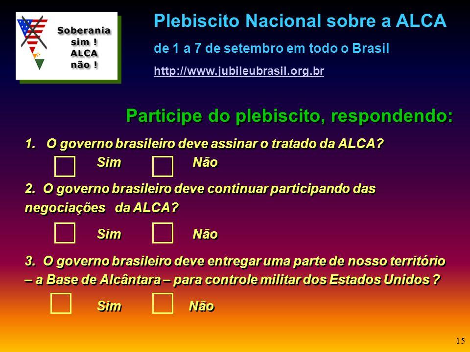 14 É uma questão de soberania... Os acordos da ALCA e de Alcântara são extremamente lesivos aos interesses nacionais e a plena soberania e por isso es