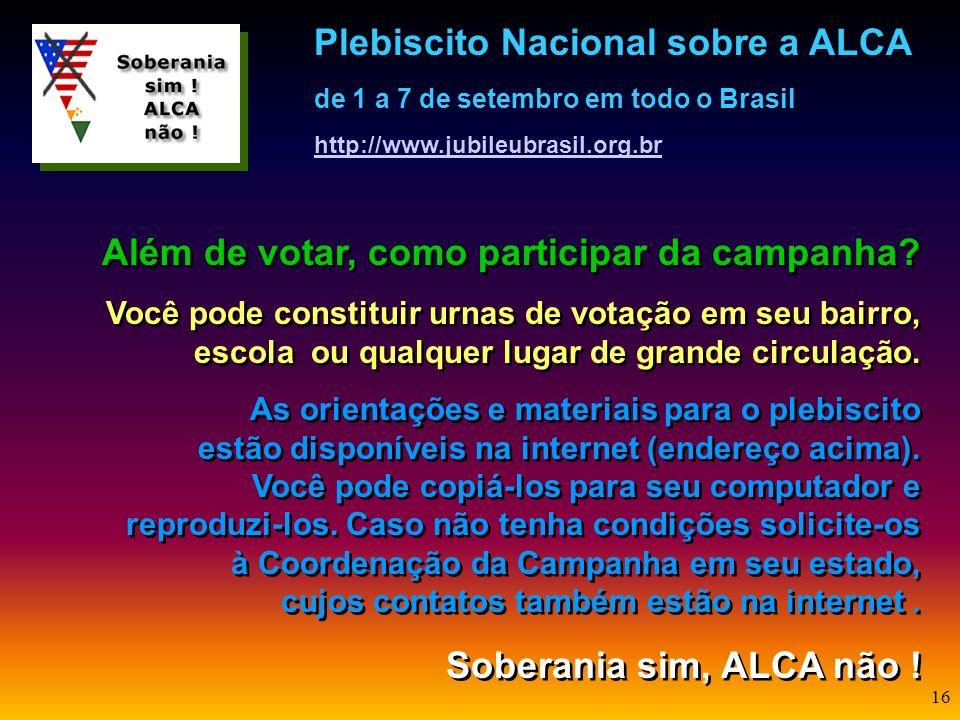 15 Participe do plebiscito, respondendo: 1. O governo brasileiro deve assinar o tratado da ALCA? Sim Não 2. O governo brasileiro deve continuar partic