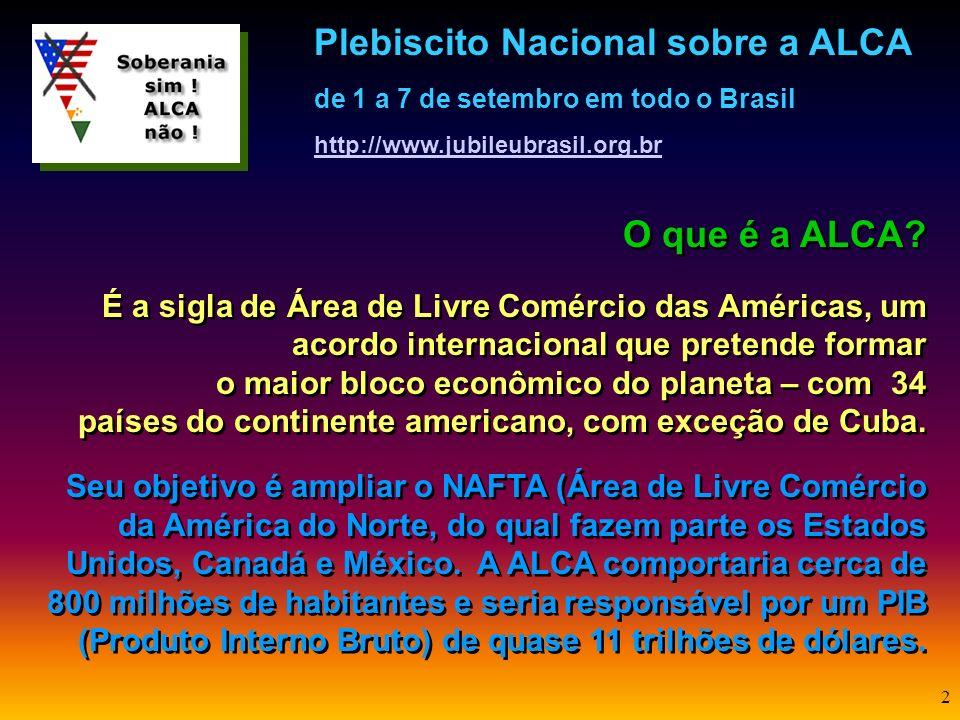 1 Você já ouviu falar sobre a ALCA? Sabe o que significa esta sigla? E que ameaças traz ao povo brasileiro e América Latina? O que pode ser feito para