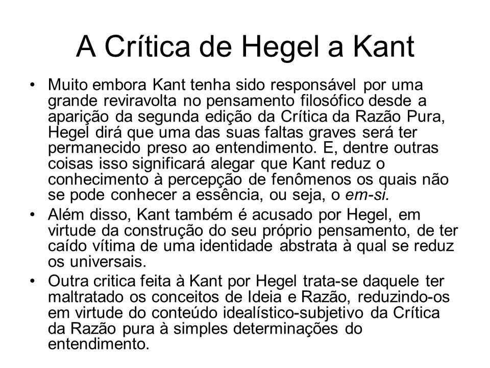 A Crítica de Hegel a Kant Muito embora Kant tenha sido responsável por uma grande reviravolta no pensamento filosófico desde a aparição da segunda edi