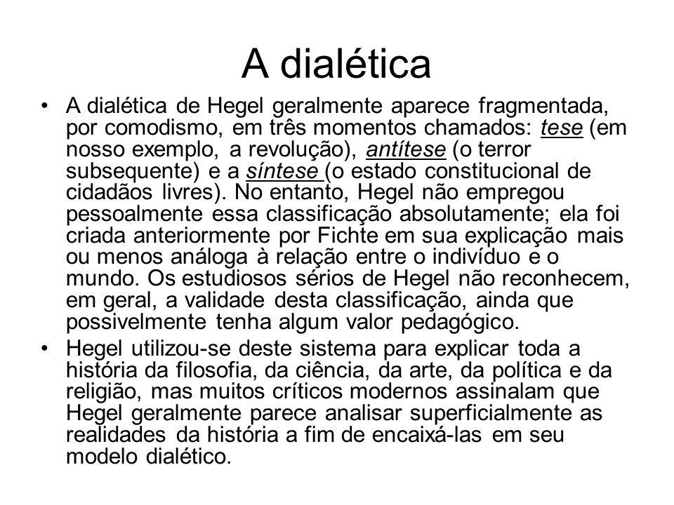 A dialética A dialética de Hegel geralmente aparece fragmentada, por comodismo, em três momentos chamados: tese (em nosso exemplo, a revolução), antít