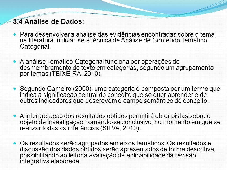 3.4 Análise de Dados: Para desenvolver a análise das evidências encontradas sobre o tema na literatura, utilizar-se-á técnica de Análise de Conteúdo T