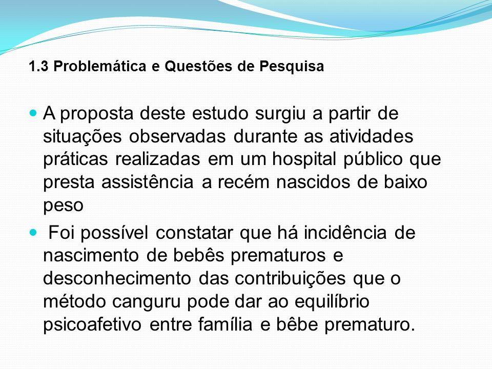 1.3 Problemática e Questões de Pesquisa A proposta deste estudo surgiu a partir de situações observadas durante as atividades práticas realizadas em u