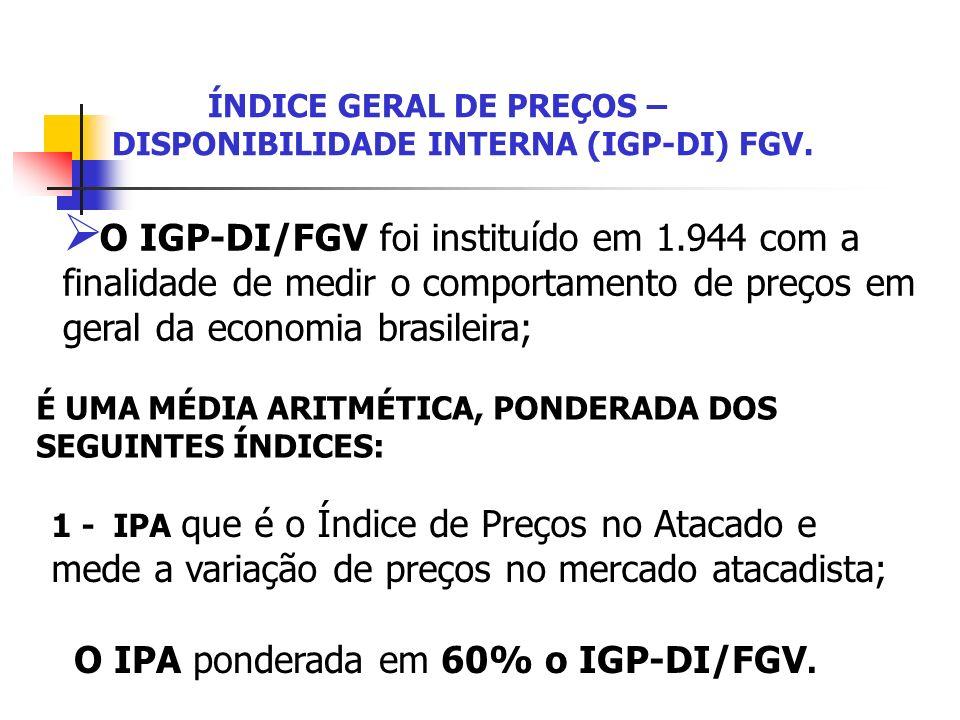 ÍNDICE GERAL DE PREÇOS – DISPONIBILIDADE INTERNA (IGP-DI) FGV. O IGP-DI/FGV foi instituído em 1.944 com a finalidade de medir o comportamento de preço