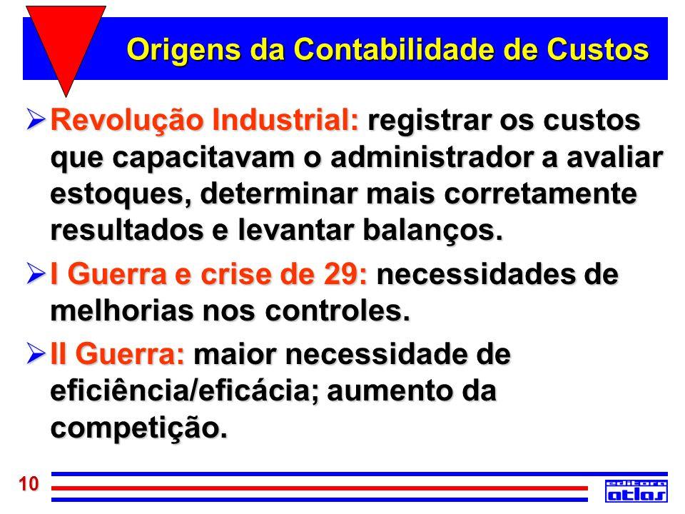 10 Origens da Contabilidade de Custos Revolução Industrial: registrar os custos que capacitavam o administrador a avaliar estoques, determinar mais co