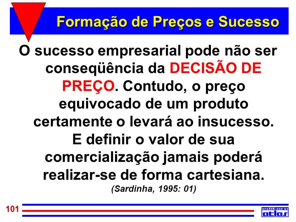 101 Formação de Preços e Sucesso O sucesso empresarial pode não ser conseqüência da DECISÃO DE PREÇO. Contudo, o preço equivocado de um produto certam