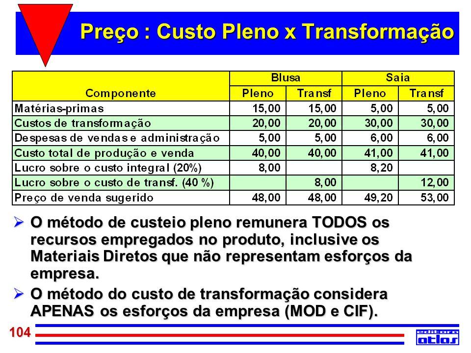 104 Preço : Custo Pleno x Transformação O método de custeio pleno remunera TODOS os recursos empregados no produto, inclusive os Materiais Diretos que