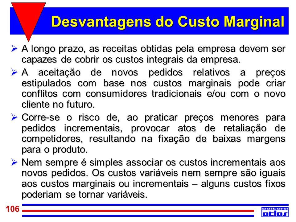 106 Desvantagens do Custo Marginal A longo prazo, as receitas obtidas pela empresa devem ser capazes de cobrir os custos integrais da empresa. A longo