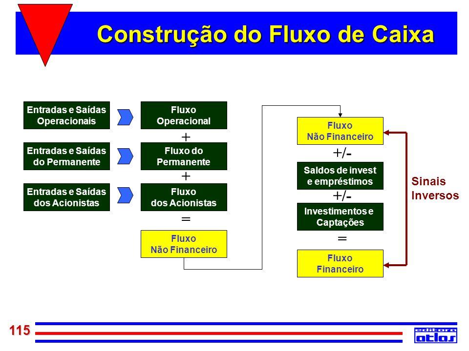 115 Entradas e Saídas Operacionais Entradas e Saídas do Permanente Entradas e Saídas dos Acionistas Fluxo Operacional Fluxo do Permanente Fluxo dos Ac