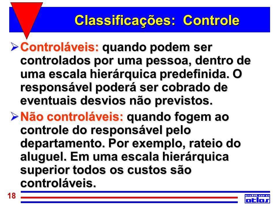 18 Classificações: Controle Controláveis: quando podem ser controlados por uma pessoa, dentro de uma escala hierárquica predefinida. O responsável pod