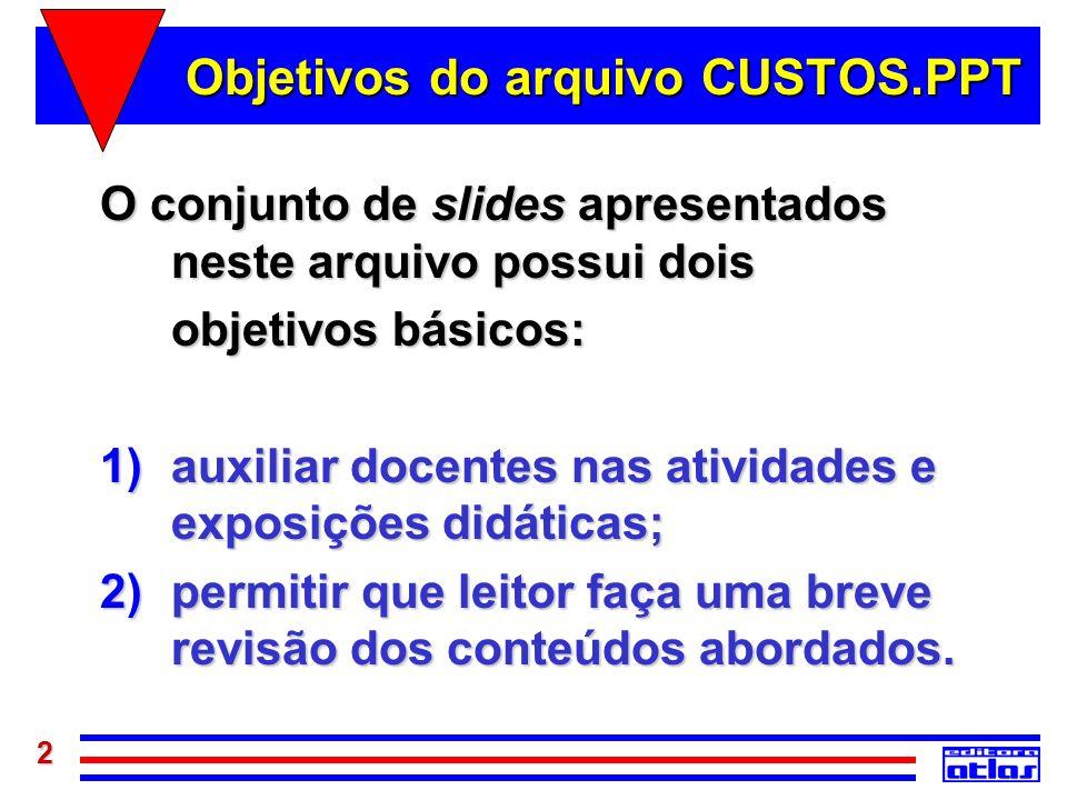 2 Objetivos do arquivo CUSTOS.PPT O conjunto de slides apresentados neste arquivo possui dois objetivos básicos: 1)auxiliar docentes nas atividades e