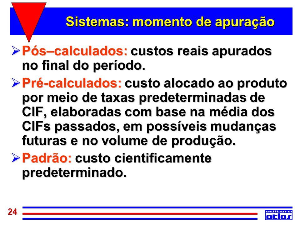 24 Sistemas: momento de apuração Pós–calculados: custos reais apurados no final do período. Pós–calculados: custos reais apurados no final do período.