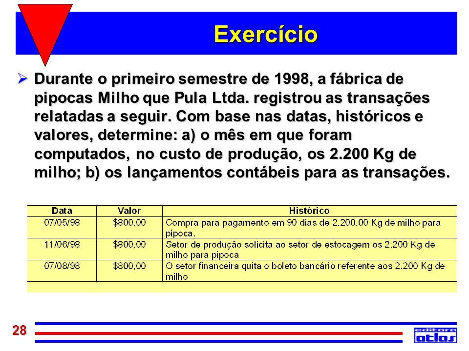 28 Exercício Durante o primeiro semestre de 1998, a fábrica de pipocas Milho que Pula Ltda. registrou as transações relatadas a seguir. Com base nas d